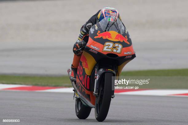 Niccolo Antonelli of Italy and Red Bull KTM Ajo heads down a straight during the MotoGP Of Malaysia Free Practice at Sepang Circuit on October 27...