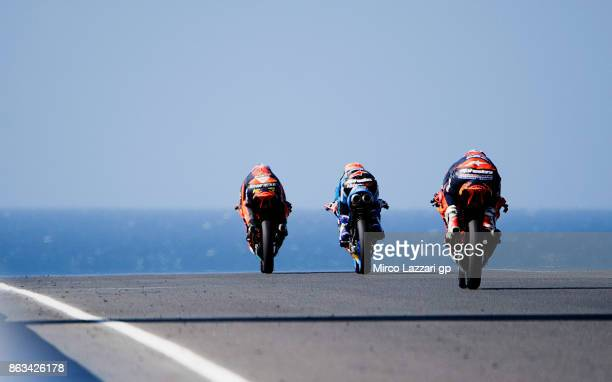 Niccolo Antonelli of Italy and Red Bull KTM Ajo leads the field during free practice for the 2017 MotoGP of Australia at Phillip Island Grand Prix...