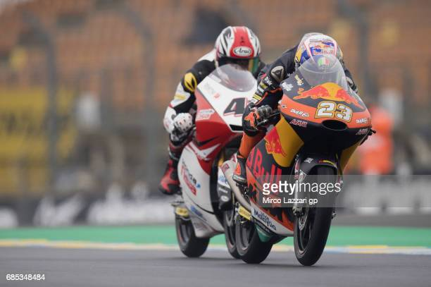 Niccolo Antonelli of Italy and Red Bull KTM Ajo leads the field during the MotoGp of France Free Practice on May 19 2017 in Le Mans France