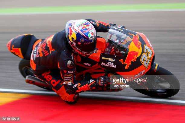 Niccolo Antonelli of Italy and Red Bull KTM Ajo rides during Moto3 practice ahead of the MotoGP of Aragon at Motorland Aragon Circuit on September 22...