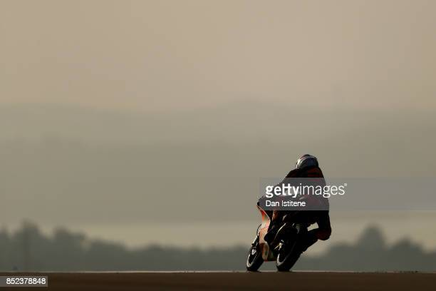 Niccolo Antonelli of Italy and Red Bull KTM Ajo rides during Moto3 practice ahead of the MotoGP of Aragon at Motorland Aragon Circuit on September 23...