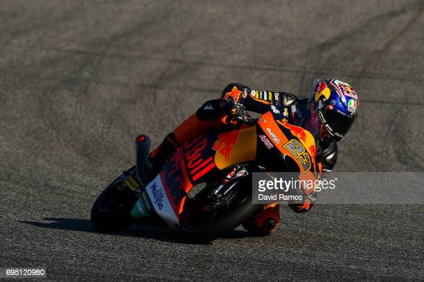 Niccolo Antonelli of Italy and Red Bull KTM Ajo rides during the Moto3 warmup ahead of the Moto3 race at Circuit de Catalunya on June 11 2017 in...