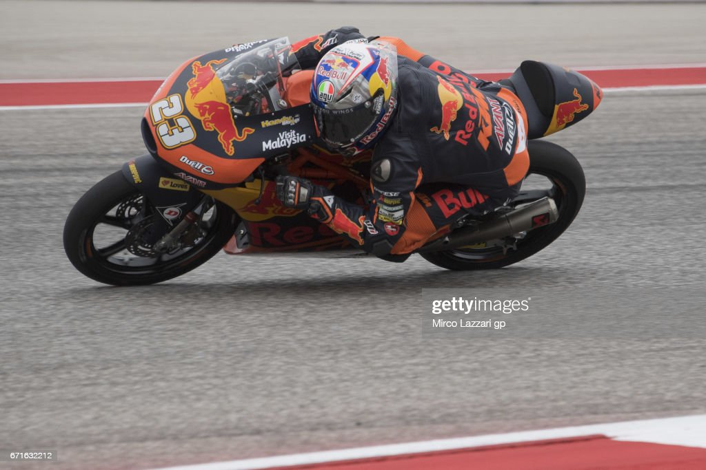 Niccolo Antonelli of Italy and Red Bull KTM Ajo rounds the bend during the qualifying practice during the MotoGp Red Bull U.S. Grand Prix of The Americas - Qualifying at Circuit of The Americas on April 22, 2017 in Austin, Texas.