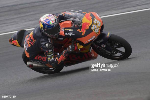 Niccolo Antonelli of Italy and Red Bull KTM Ajo rounds the bend during the MotoGp of Austria Qualifying at Red Bull Ring on August 12 2017 in...