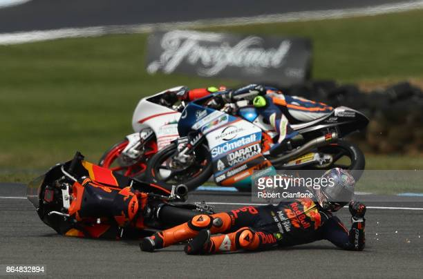 Niccolo Antonelli of Italy and rider of the Red Bull KTM Ajo KTM crashes during the Moto3 race at the 2017 MotoGP of Australia at Phillip Island...