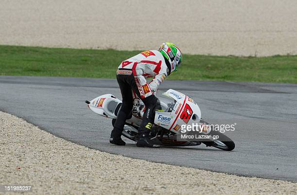 Niccolo Antonelli of Italy and San Carlo Gresini Moto3 crashed out during the free practice of the MotoGP of San Marino at Misano World Circuit on...