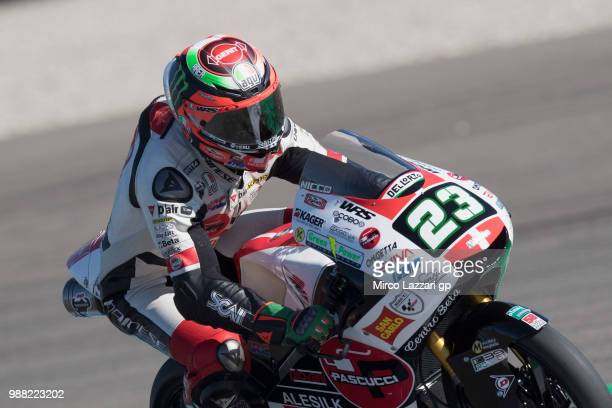 Niccolo Antonelli of Italy and Sic 58 Squadra Corse heads down a straight during the Qualifying practice during the MotoGP Netherlands Qualifying on...