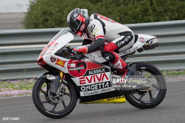 Niccolo Antonelli of Italy and Sic 58 Squadra Corse Honda heads down a straight during the Moto2 Moto3 Tests In Jerez at Circuito de Jerez on March 6...