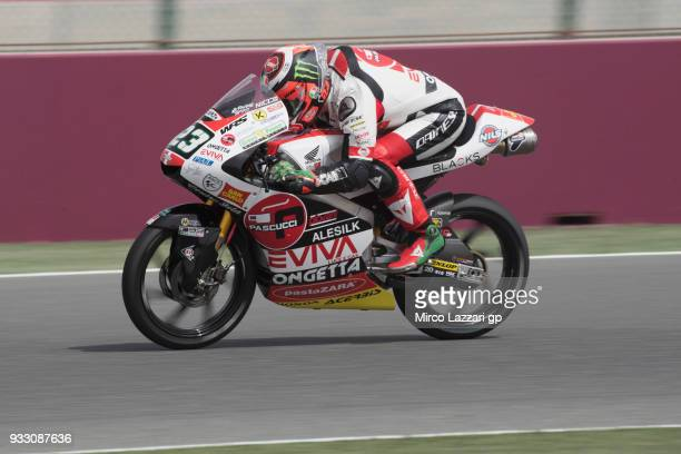 Niccolo Antonelli of Italy and Sic 58 Squadra Corse Honda heads down a straight during the MotoGP of Qatar Qualifying at Losail Circuit on March 17...