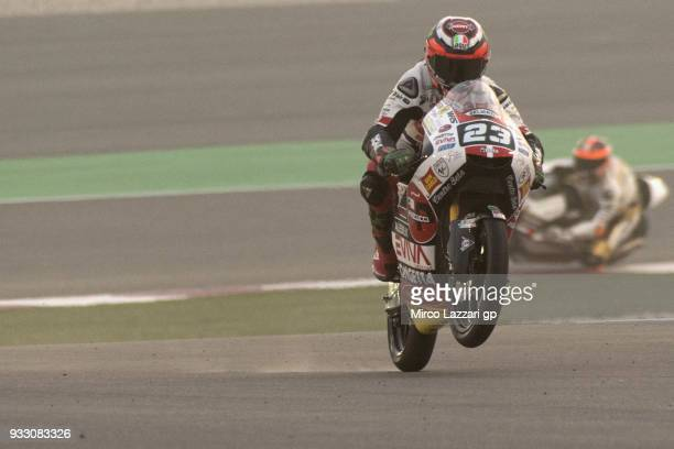 Niccolo Antonelli of Italy and Sic 58 Squadra Corse Honda lifts the front wheel during the MotoGP of Qatar Qualifying at Losail Circuit on March 17...