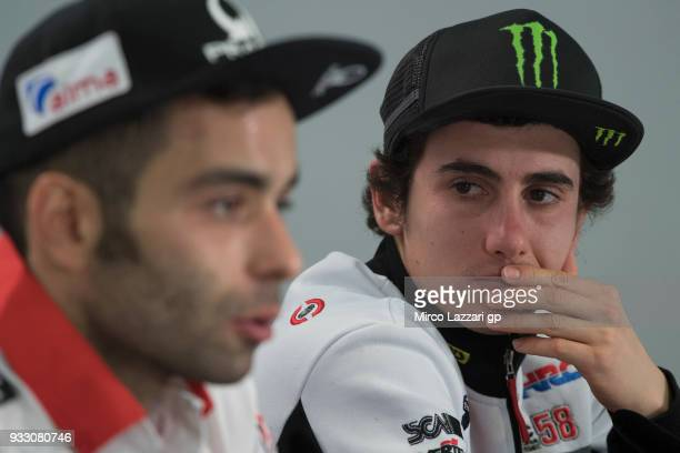 Niccolo Antonelli of Italy and Sic 58 Squadra Corse Honda looks on during the press conference during the MotoGP of Qatar Qualifying at Losail...