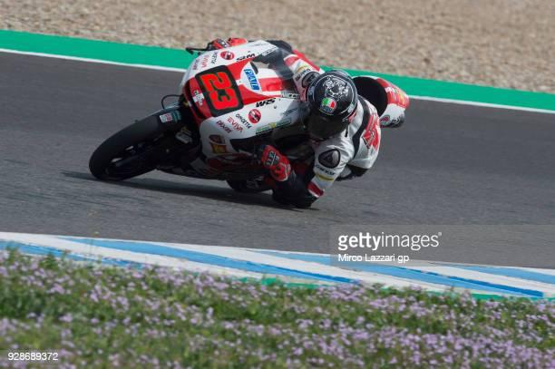Niccolo Antonelli of Italy and Sic 58 Squadra Corse Honda rounds the bend during the Moto2 Moto3 Tests In Jerez at Circuito de Jerez on March 7 2018...