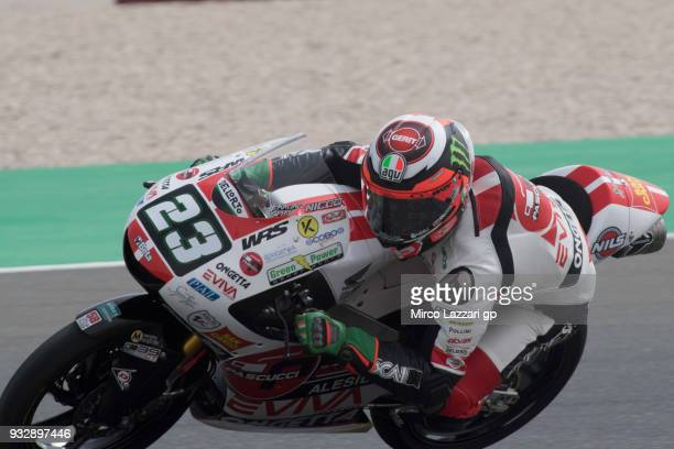 Niccolo Antonelli of Italy and Sic 58 Squadra Corse Honda rounds the bend during the MotoGP of Qatar Free Practice at Losail Circuit on March 16 2018...