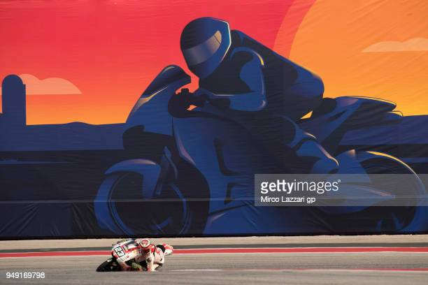 Niccolo Antonelli of Italy and Sic 58 Squadra Corse Honda rounds the bend during the MotoGp Red Bull US Grand Prix of The Americas Free Practice at...