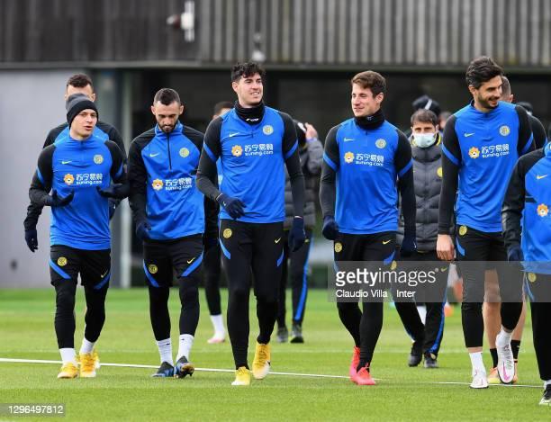 Niccolo Barella, Marcelo Brozovic, Alessandro Bastoni, Andrea Pinamonti and Andrea Ranocchia attend an FC Internazionale training session at Appiano...