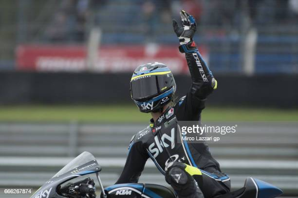 Niccolo Bulega of Italy and Sky Racing Team VR46 greets the fans during the MotoGp of Argentina Qualifying on April 8 2017 in Rio Hondo Argentina