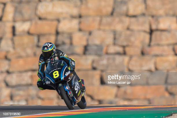 Niccolo Bulega of Italy and Sky Racing Team VR46 heads down a straight during the MotoGP of Aragon Free Practice at Motorland Aragon Circuit on...