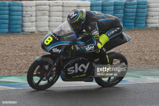 Niccolo Bulega of Italy and Sky Racing Team VR46 KTM heads down a straight during the Moto2 Moto3 Tests In Jerez at Circuito de Jerez on March 8 2018...