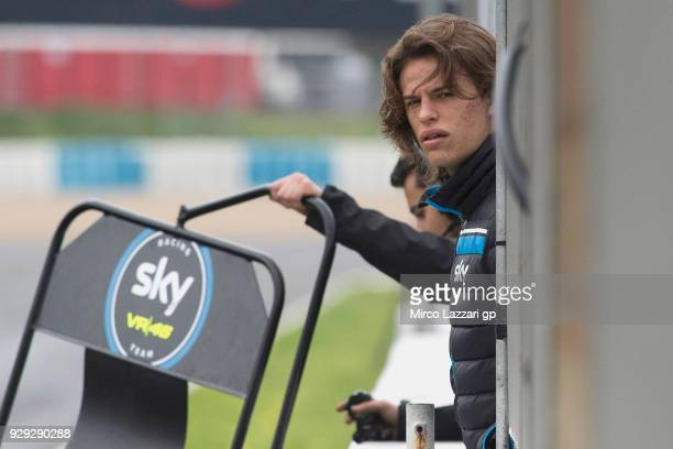 Niccolo Bulega of Italy and Sky Racing Team VR46 KTM looks on in pit during the Moto2 Moto3 Tests In Jerez at Circuito de Jerez on March 8 2018 in...