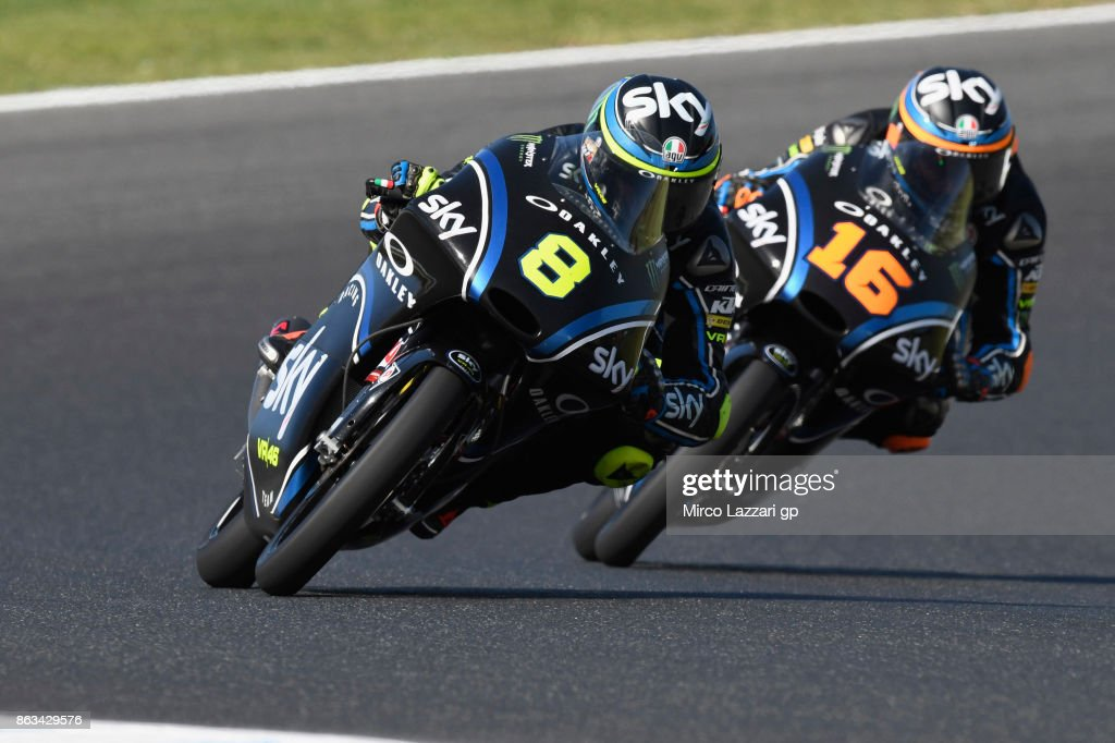 Niccolo Bulega of Italy and Sky Racing Team VR46 leads Andrea Migno of Italy and Sky Racing Team VR46 during free practice for the 2017 MotoGP of Australia at Phillip Island Grand Prix Circuit on October 20, 2017 in Phillip Island, Australia.
