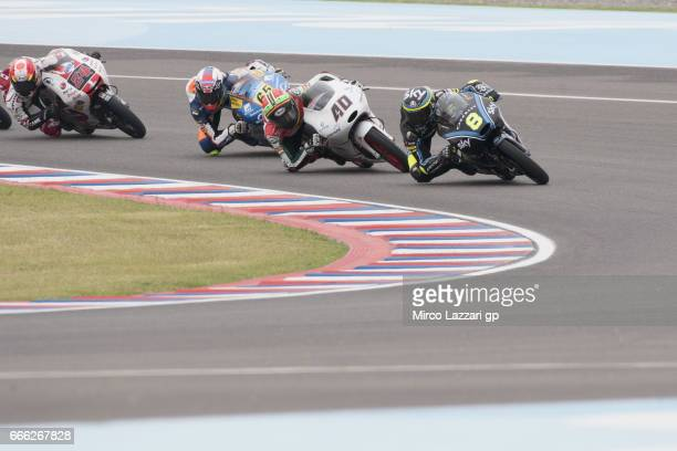 Niccolo Bulega of Italy and Sky Racing Team VR46 leads the field during the MotoGp of Argentina Qualifying on April 8 2017 in Rio Hondo Argentina