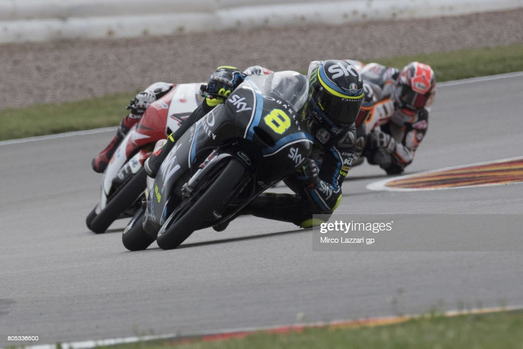 Niccolo Bulega of Italy and Sky Racing Team VR46 leads the field during the MotoGp of Germany - Qualifying at Sachsenring Circuit on July 1, 2017 in Hohenstein-Ernstthal, Germany.