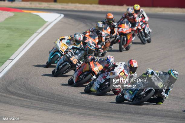 Niccolo Bulega of Italy and Sky Racing Team VR46 leads the field during the Moto3 race during the MotoGP of Aragon Race at Motorland Aragon Circuit...