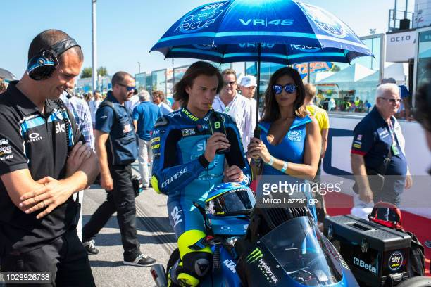 Niccolo Bulega of Italy and Sky Racing Team VR46 prepares to start on the grid during the Moto3 race during the MotoGP of San Marino Race at Misano...