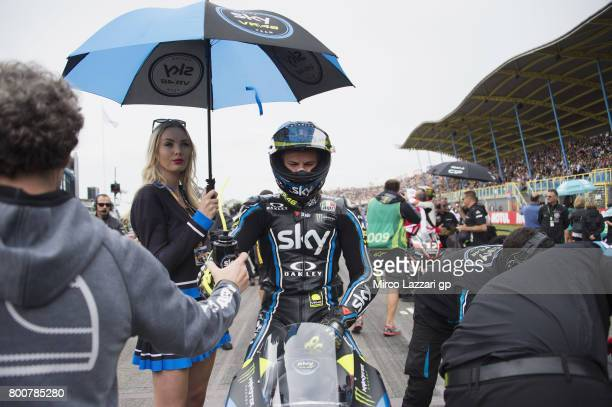 Niccolo Bulega of Italy and Sky Racing Team VR46 prepares to start on the grid during the Moto3 Race during the MotoGP Netherlands Race on June 25...