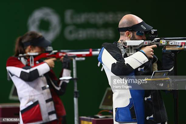Niccolo Campriani and Petra Zublasing of Italy compete in the Mixed Team 10m Air Rifle Final during day ten of the Baku 2015 European Games at the...
