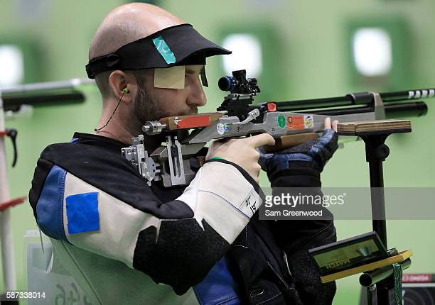 Niccolo Campriani of Italy competes in the qualifying event for the 10m Air Rifle match on Day 3 of the Rio 2016 Olympic Games at the Olympic...