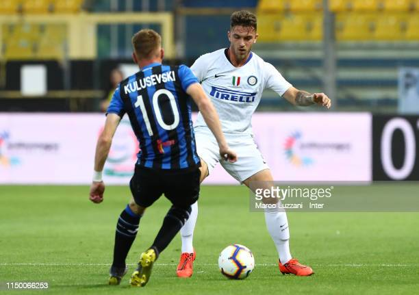 Niccolo Corrado of FC Internazionale competes for the ball with Dejan Kulusevski of Atalanta BC during the Serie A Primavera Playoff Final match...