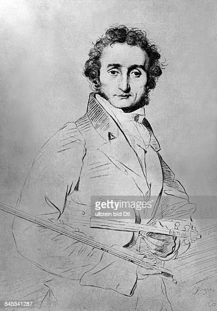 Niccolo Paganini *2710178227051840Geigenvirtuose Komponist Italien IPorträtZeichnung