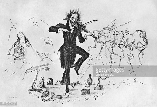 Niccolo Paganini *2710178227051840Musiker Violinist Komponist Italien Darstellung als 'Teufelsgeiger' zeitgenöss Karikatur auf die Wiener Konzerte...