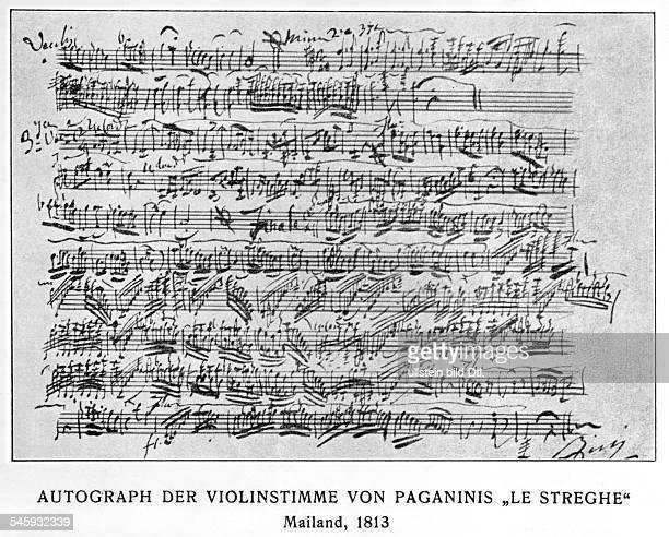 Niccolo Paganini *2710178227051840Musiker Violinist Komponist Italien Autograph der Violinstimme von Paganinis `Le Streghe' 1813