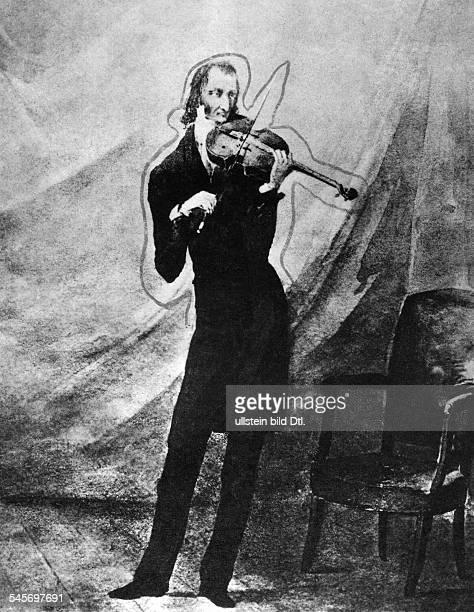 Niccolo Paganini *2710178227051840Violinvirtuose Komponist Italien beim ViolinspielAquarell