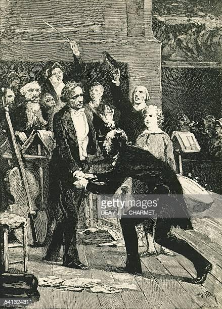 Niccolo Paganini bowing before Hector Berlioz after the Harold in Italy symphony engraving France 20th century Parigi Bibliotheque Historique De La...