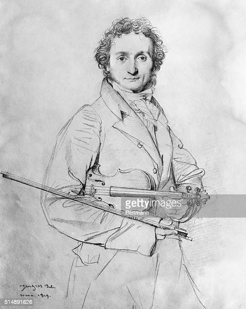 Niccolo Paganini renowned Italian violinist 3/4length frontal pencil sketch by French painter Jean Auguste Dominique Ingres
