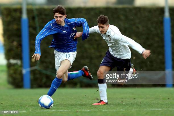 Niccolo' Ricchi of Italy under18 an action against Lorenzo Peli of Italy during the 'Torneo Dei Gironi' Italian Football Federation U18 Tournament at...