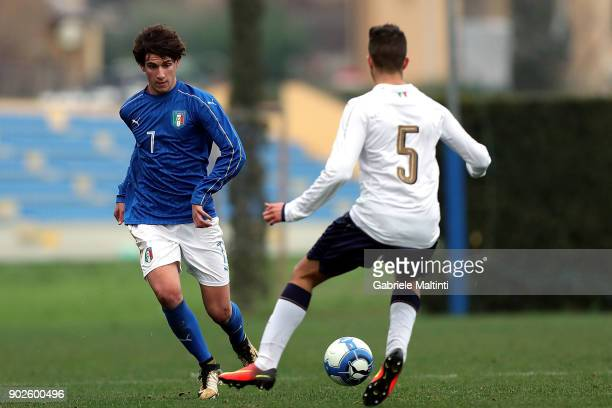 Niccolo' Ricchi of Italy Under18 in action against Emanule Matteucci of Italy during the at Coverciano 'Torneo Dei Gironi' Italian Football...