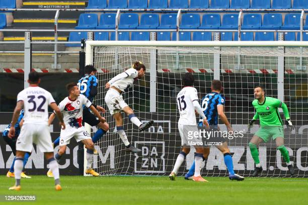 Niccolo Zanellato of F.C. Crotone scores their team's first goal during the Serie A match between FC Internazionale and FC Crotone at Stadio Giuseppe...