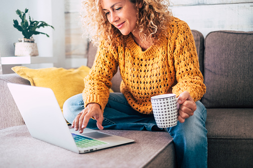 Nice beautiful lady with blonde curly hair work at the notebook sit down on the sofa at home - check on oline shops for cyber monday sales - technology woman concept for alternative office freelance 1087959426