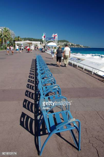Nice blue chairs along the 'Promenade des Anglais'