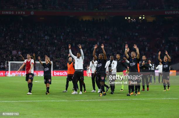 Nice celebrate during the UEFA Champions League Qualifying Third Round match between Ajax and OSC Nice at Amsterdam Arena on August 2 2017 in...