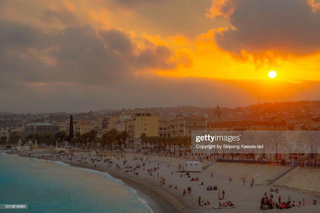 Nice city at sunset, France. : Stock Photo