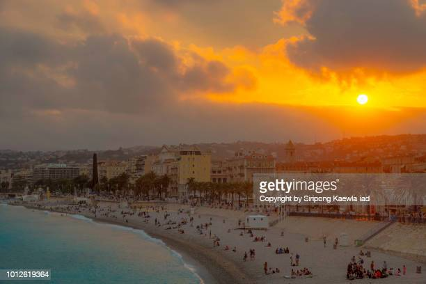 nice city at sunset, france. - copyright by siripong kaewla iad stock photos and pictures
