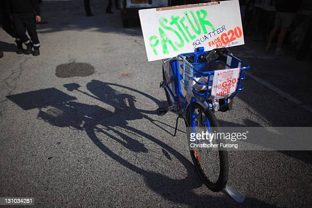 Nice city rental bicycle is adorned with antiG20 placards ahead of an antiG20 demonstration on November 1 2011 in Nice France AntiG20 demonstrators...