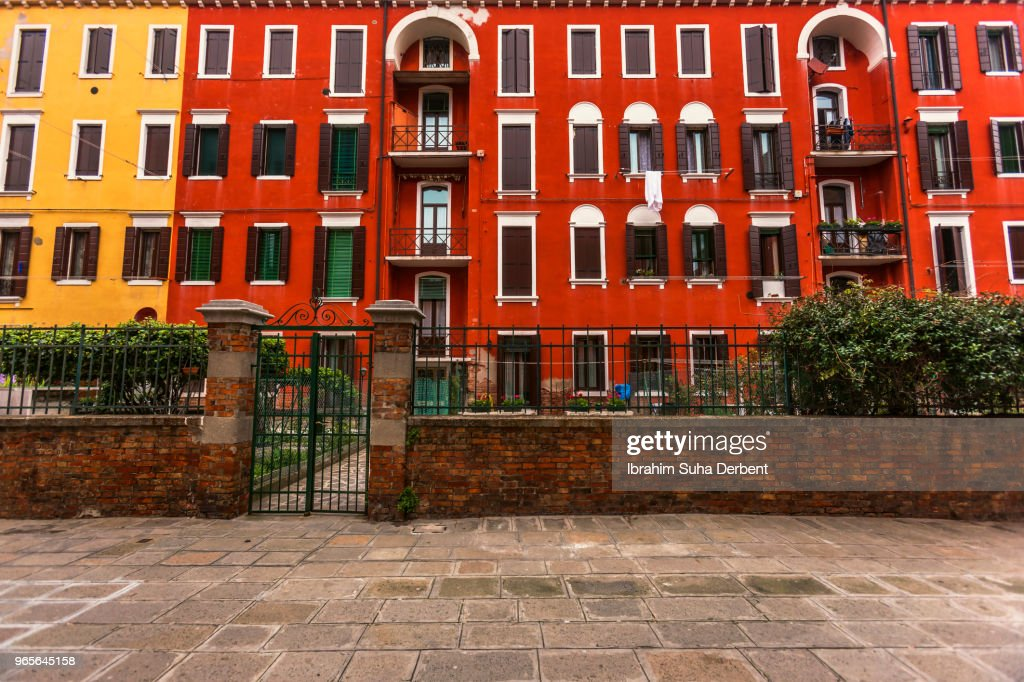 Nice colorful apartment block in Venice, Italy : Stock Photo
