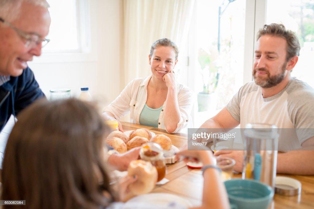 Nice conversation at breakfast : Stock Photo