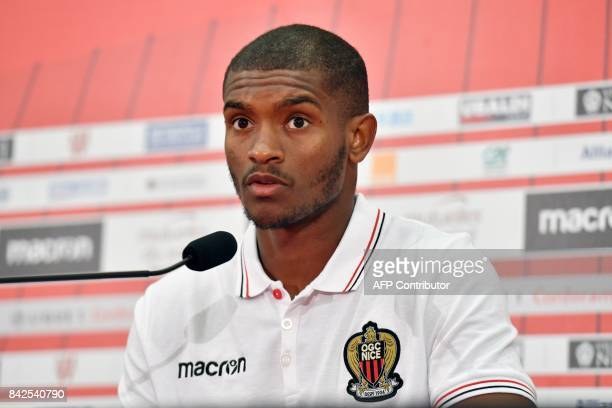 OGC Nice football club's new recruit Brazilian defender Santos Marlon speaks during a press conference to present the club's new players on September...